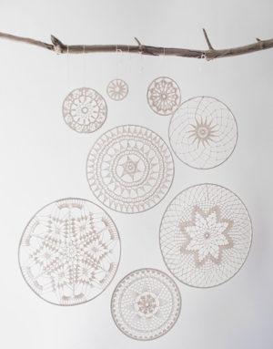 dromenvanger mandala framework indianen veren kralen hout leer gehaakt decoratie interieur muurdecoratie katoen stok