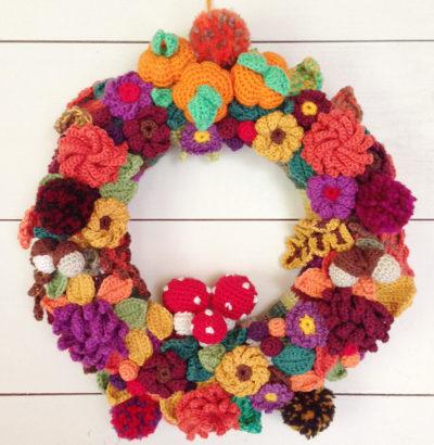 herfst, herfstkrans, herfst, bladeren, paddenstoelen, haken, najaar, autumn, crochet, wreath, autumnwreath