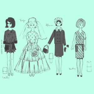 Barbie naaipatroontjes, Barbie naaipatroon, Barbie, naaipatroon, vintage Barbie, Barbie vintage, haakworkshops, Yolande van den Boom