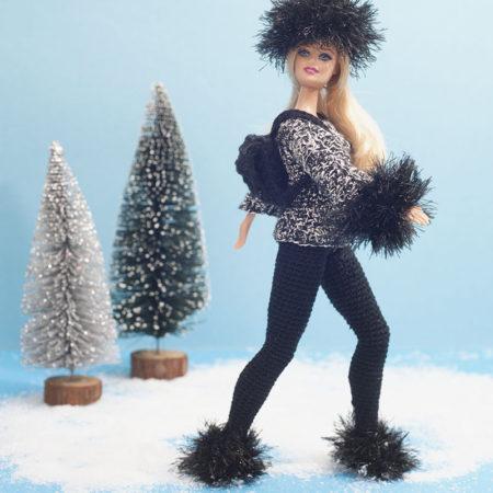 haakpatroon, Barbie, setje, legging, trui, zwart, katoen, ski-outfit