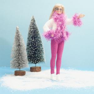 Haakpatroon, Barbie, outfit, ski-outfit, katoen, legging, jasje, bontrand, roze, wit