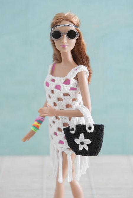 barbie, ibiza, gehaakt, covertop, tas, gehaakt, ster,zwart, wit