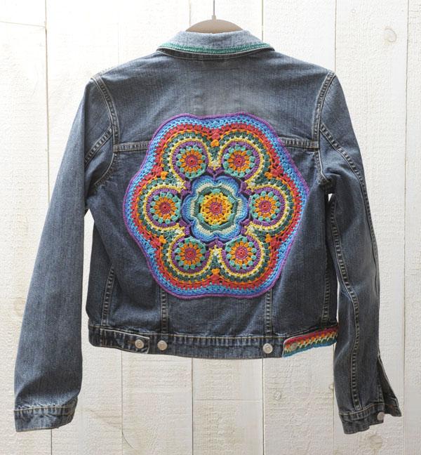 spijkerjack Esprit mandala back crochet haakwerk kleur handmade