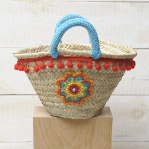strandtas kids mandala pompon Ibiza beachbag katoen handvatten riet touw