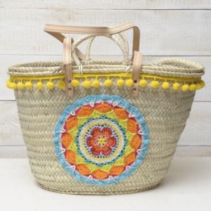 strandtas beachbag Ibiza handvatten hengsels grote mandala pompons riet katoen touw leder