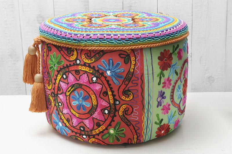 Boho poef katoen haken flossen houten kralen meerkleurig deksel crochet poof colourful