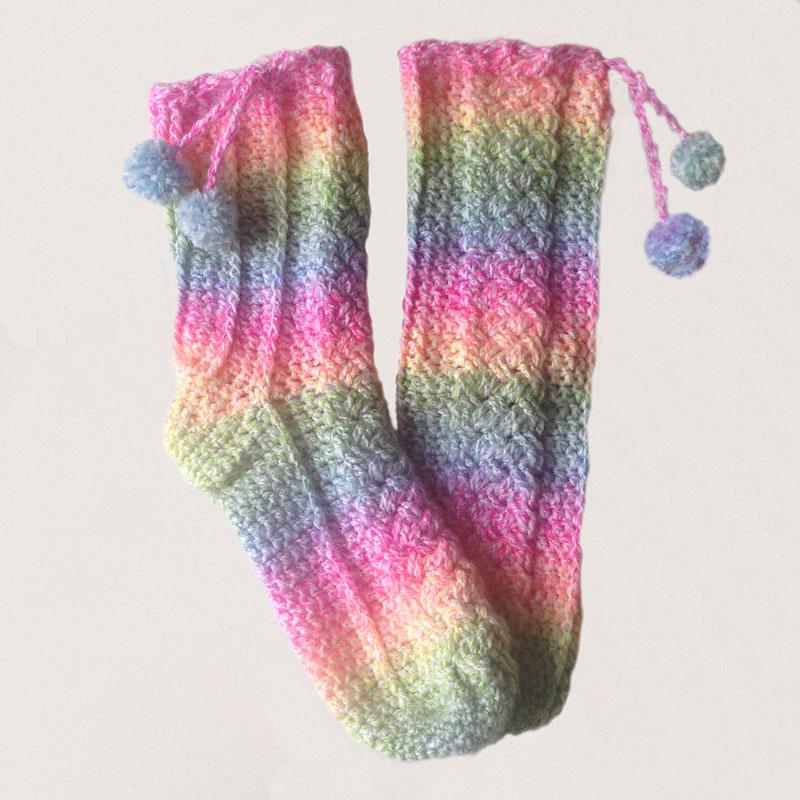 fel gekleurde sokken haken haakworkshopseindhoven kabelsokken kabels crochet socks snoepsokken