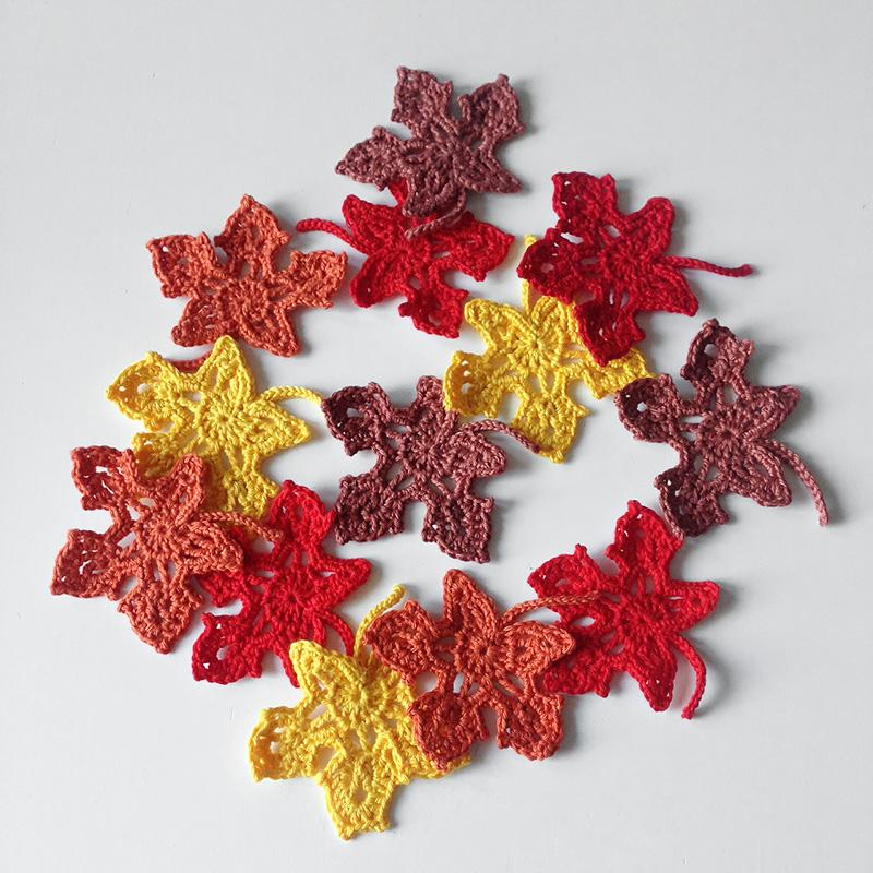 Esdoorn, gehaakte esdoornblaadjes, haakworkshops, Yolandevandenboom.nl, herfst herfstkleuren, haken, crochet, maple, maple leaf