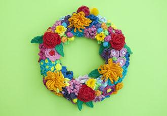 bloemen, haken, kleurig, krans, rozen, blaadjes