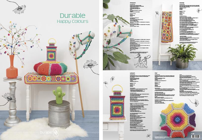 Durable posters, haken, breien, patronen, poef, lantaarn, babydeken, springpaard, happy colors
