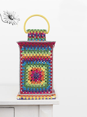 Durableposter, lantaarn, grannysquares, happy colours, lenteposter,kleurig, gehaakt, haken
