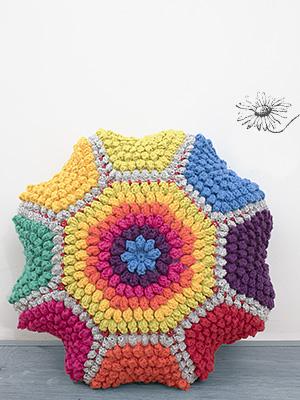 Durableposter, poef, popcornsteek, happy colours, lenteposter,kleurig, gehaakt, haken