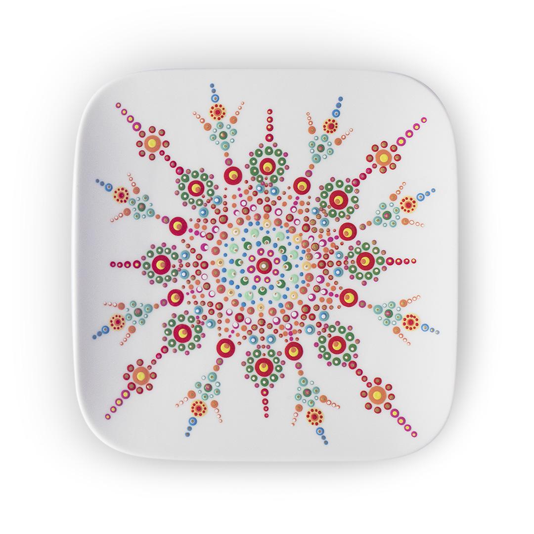 stippen, gekleurd, patroon, keramiek, bordje, kleurig, stervorm