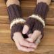 Handschoenen, topjesloos, katioen, bruin, ecru, glam, gahaakt, haakpatroon
