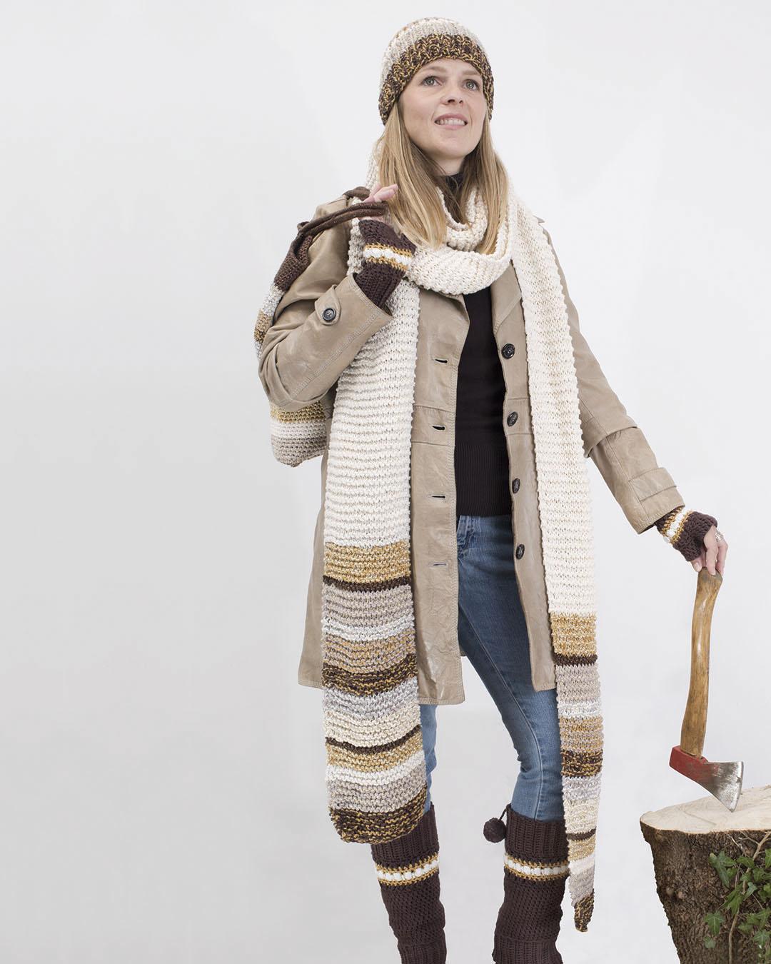 muts en sjaal, katoen, breien, gebreit, ecru, bruin, glam, glans