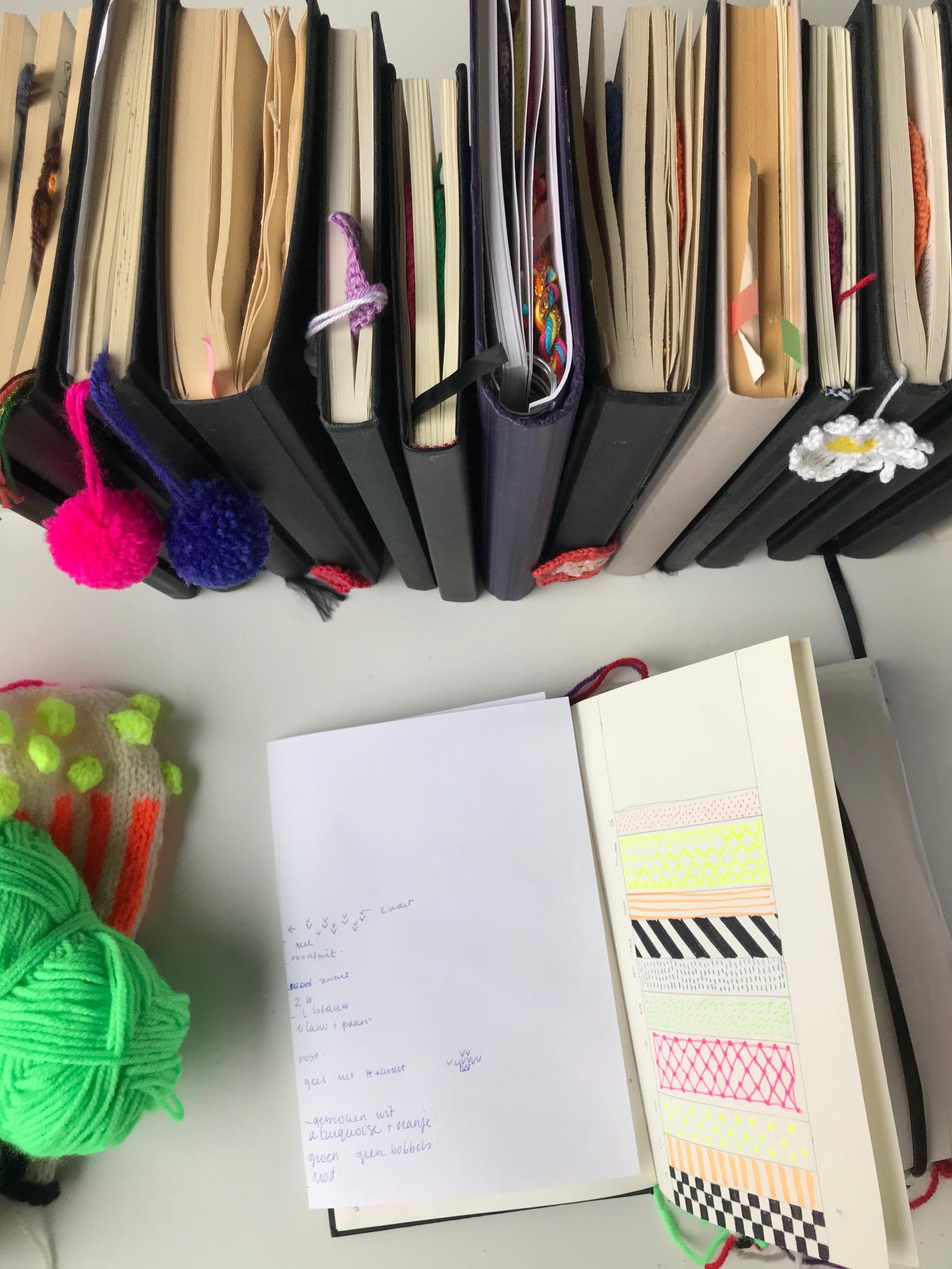 meetthemaker, day 9, notitieboekjes, notebooks, crochet, design, working space