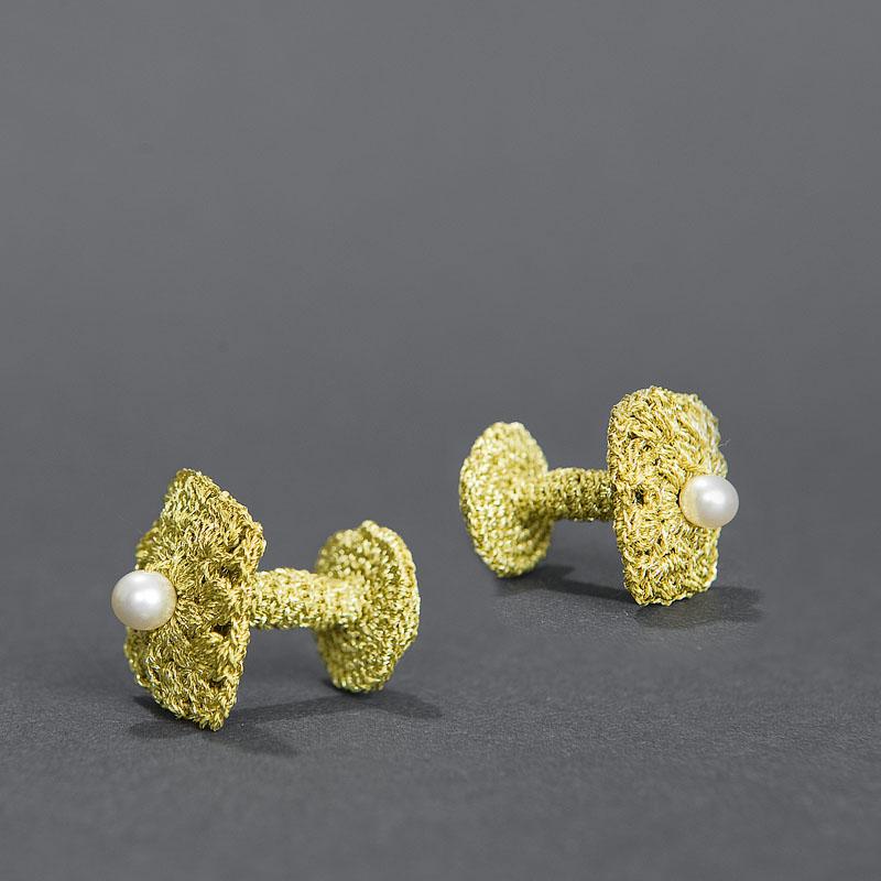 meetthemaker day 14,manchetknopen, goud, parels,, gehaaktd