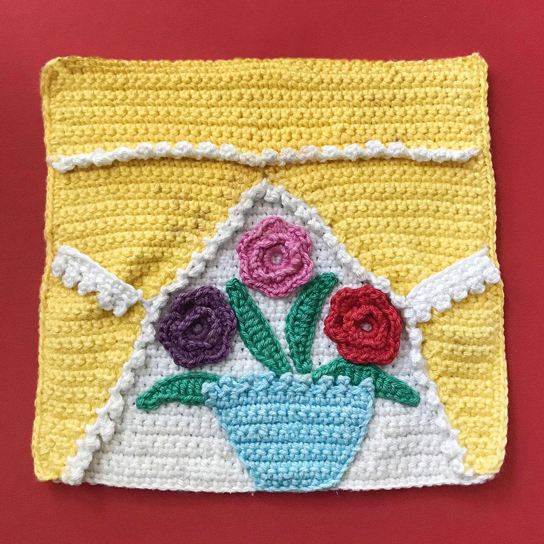 Meetthemaker day 30, pannenlap, bloemen, vaasje, blaadje, gehaakt, kleurig