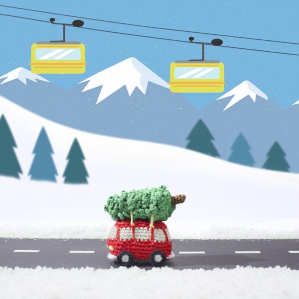 vw busje met kerstoom, haken, kerst, kersthaken, zwitserland, diy, instant download