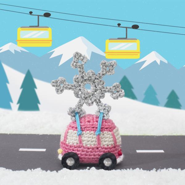 kerst haakpatroon VW-busje met ijskristal