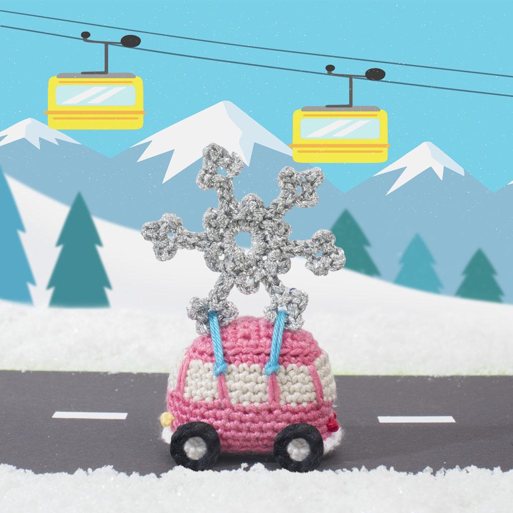 kerst haakpatroonVW-busje met ijskristal