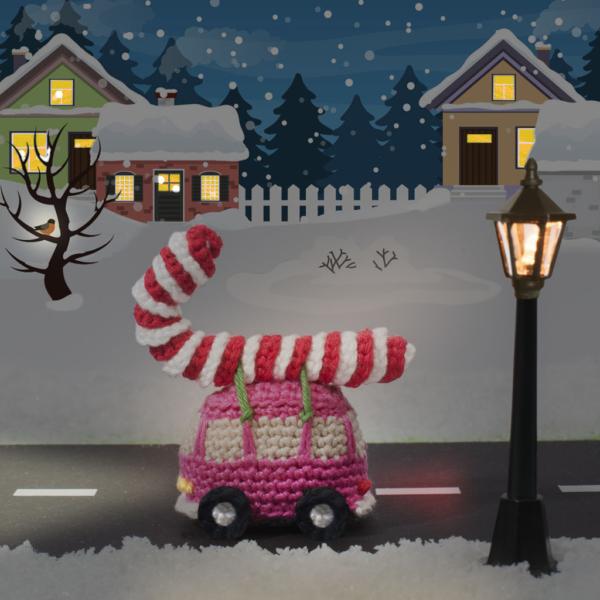 Kersthaakpatroon VW-busje met candy cane