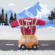 VW-busje met truitje wegwinkel, haakpatroon, kersttruitje, amigurumi, zwitserland, winter, berglandschap, haken
