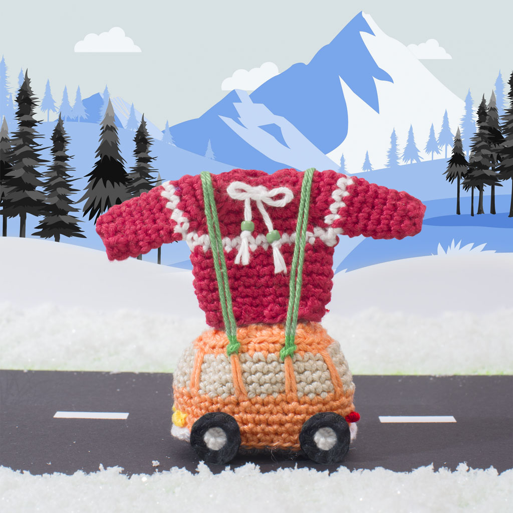 vw-busje met truitje, haakpatroon, haken, kersttruitje, amigurumi